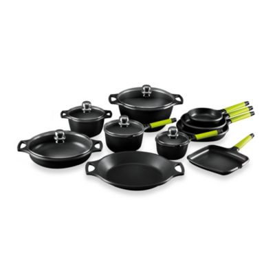 Fundix by Castey Cast Aluminum 15-Piece Cookware Set in Kiwi