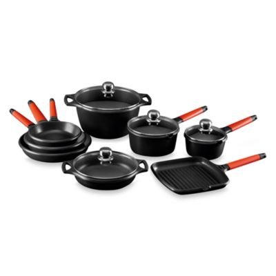 Fundix by Castey Cast Aluminum 12-Piece Cookware Set in Red