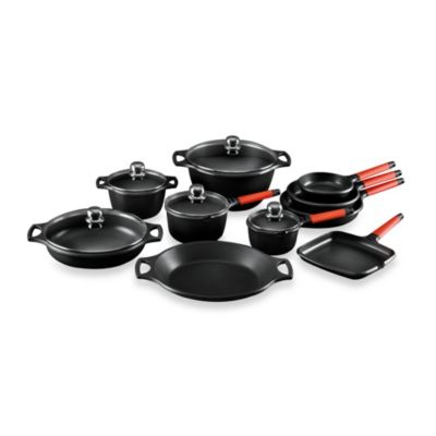Fundix by Castey Cast Aluminum 15-Piece Cookware Set in Red