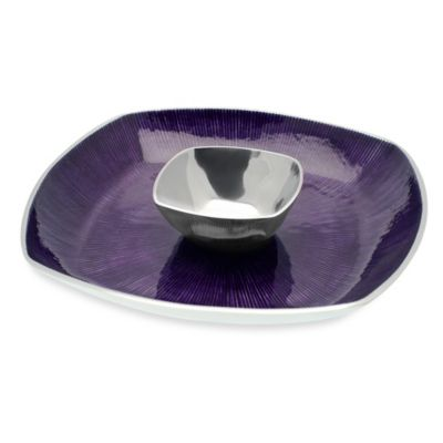 Simplydesignz Bodoni 2-Piece 14-Inch Chip & Dip Set in Plum