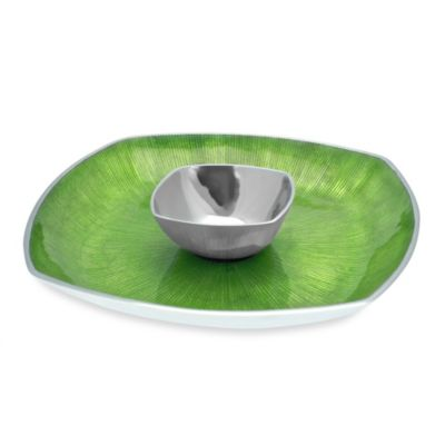 Simply Designz Bodoni Colletion 2-Piece 14-Inch Chip & Dip Set in Green