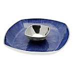 Simply Designz Bodoni Collection 2-Piece 14-Inch Chip & Dip Set in Blue