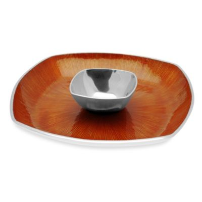 Simply Designz Bodoni Collection 2-Piece 14-Inch Chip & Dip Set in Orange