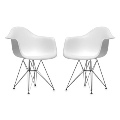 Baxton Studio Plastic Chair in White (Set of 2)