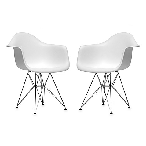 Plastic Chair in White (Set of 2)