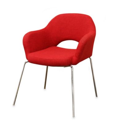 Baxton Studio Mid-Century Modern Red Twill Executive Armchair