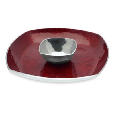 Simplydesignz Bodoni 2-Piece 14-Inch Chip and Dip Set in Ruby Red