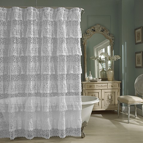 priscilla lace shower curtain in white bed bath beyond. Black Bedroom Furniture Sets. Home Design Ideas
