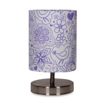 Uplight Purple Floral Table Lamp