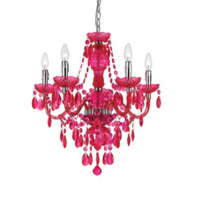 angelo: HOME Fulton Family Chandelier Lamp Pink