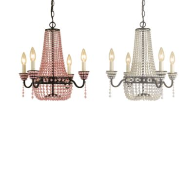 AF Lighting 4-Light Bronze Parlor Mini-Chandelier in White