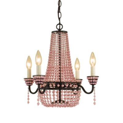 AF Lighting 4-Light Bronze Parlor Mini-Chandelier in Pink