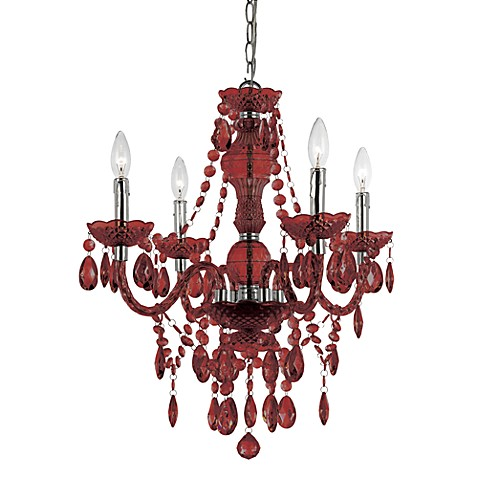 AF Lighting Naples Chrome Mini-Chandelier in Red