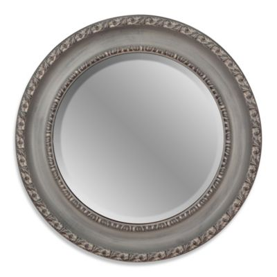 26-Inch Round Decorative Mirror in Grey