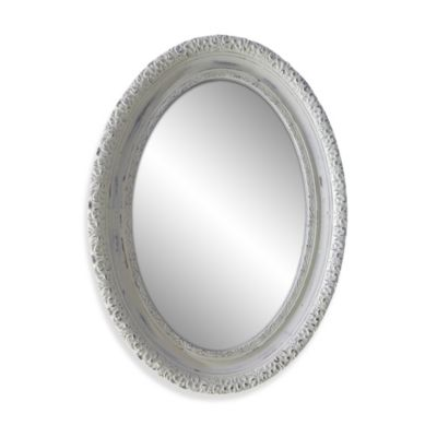 25-Inch x 34-Inch Distressed Oval Mirror in White