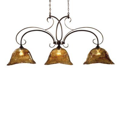 Uttermost 3-Light Glass Oil-Rubbed Bronze Vetraio Kitchen Island Light
