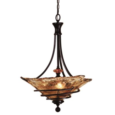 Uttermost 3-Light Glass Oil-Rubbed Bronze Vitalia Pendant Lamp