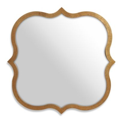 Antiqued Gold Scalloped Accent Miirror