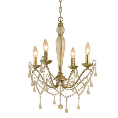 AF Lighting Sophia Candle Base Mini Chandelier in Soft Gold with Glass Accents
