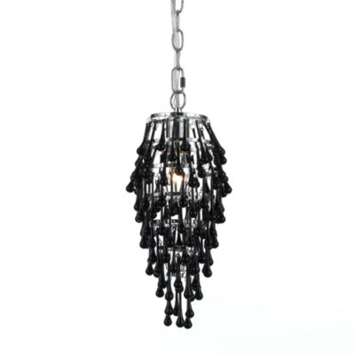 AF Lighting 14-Inch Crystal Teardrop Chrome Mini-Chandelier in Black