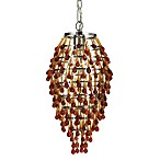 AF Lighting Crystal Teardrop Chrome Mini-Chandelier in Amber