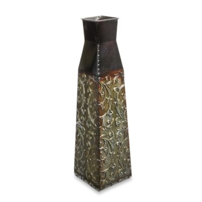 Square Vine 22-Inch Metal Vase