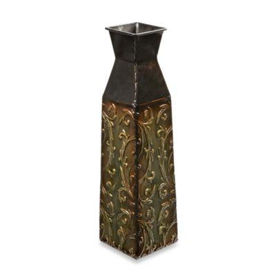 Square Vine 16-Inch Metal Vase