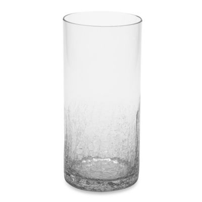 10.2-Inch Half Crackle Clear Glass Vase