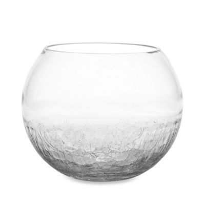 7.7-Inch Half Crackle Clear Glass Bowl