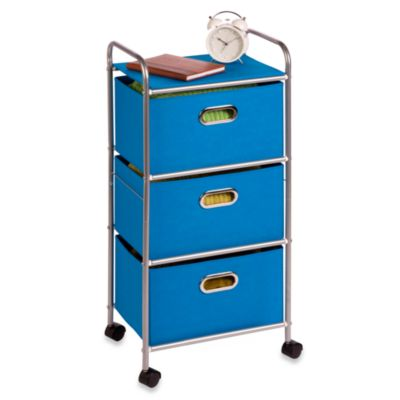 Honey-Can-Do Steel 3-Drawer Rolling Fabric Cart in Silver/Blue