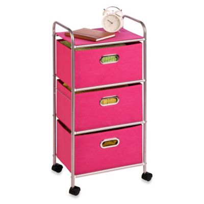Honey-Can-Do Steel 3-Drawer Rolling Fabric Cart in Pink