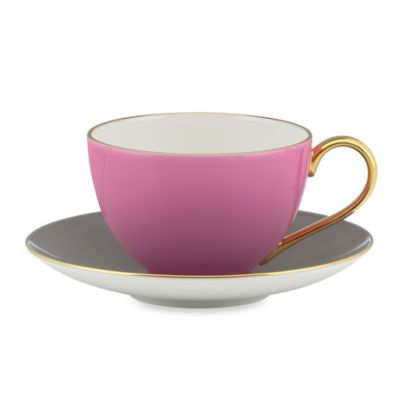 kate spade new york Greenwich Grove™ Teacup and Saucer in Pink/Grey