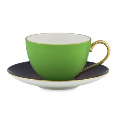 Kate Spade New York Greenwich Grove Teacup and Saucer in Green/Navy