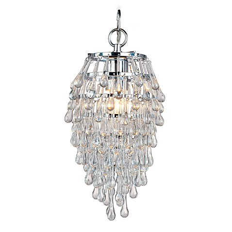 AF Lighting Crystal Teardrop Chrome Mini-Chandelier in Clear