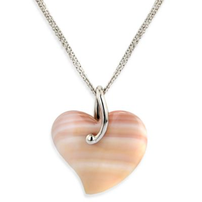 Honora Sterling Silver Mother-of-Pearl 18-Inch Heart Pendant