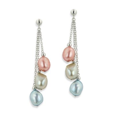 Honora Sterling Silver Wildflower Fresh Water Cultured 7-8MM Pearl Triple Drop Earrings