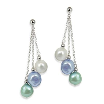 Honora Sterling Silver Halo Fresh Water Cultured 7-8MM Pearl Drop Earrings
