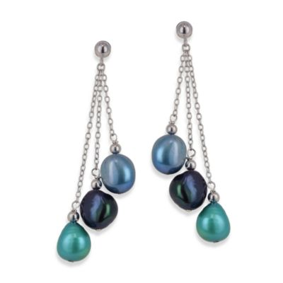 Honora Sterling Silver Peacock Fresh Water Cultured 7-8MM Pearl Drop Earrings
