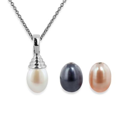 Honora Sterling Silver Fresh Water Cultured 8.5MM Pearl Pendant in White/Black/Plum