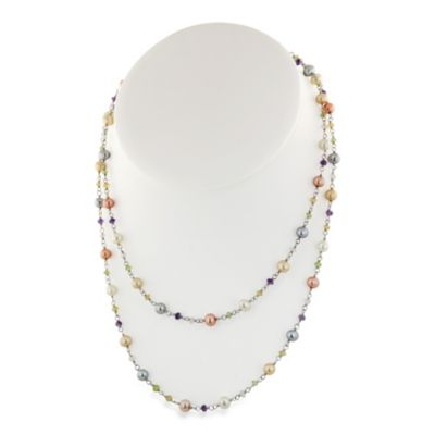 Honora Sterling Silver 5.5-6MM Wildflower Fresh Water Cultured Pearl & Gemstone 36-Inch Necklace