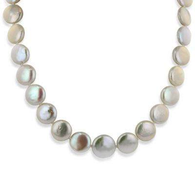 Honora Sterling Silver Fresh Water Cultured 12-15MM Graduated Coin Pearl 18-Inch Necklace