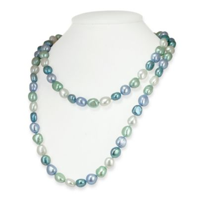 Honora Sterling Silver Halo Baroque Fresh Water Cultured 7-8MM Pearl 36-Inch Necklace
