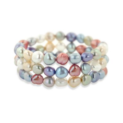 Honora Wildflower Freshwater Cultured 7-8MM Pearl 7.5-Inch Bracelet (Set of 3)