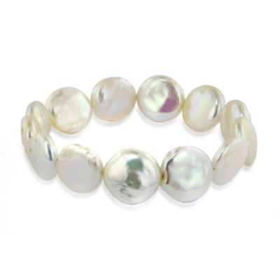 Honora White Fresh Water Cultured 14-15MM Coin Pearl 7.5-Inch Stretch Bracelet