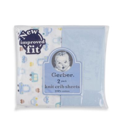 Gerber® 2-Pack Blue Cotton Knit Fitted Crib Sheet