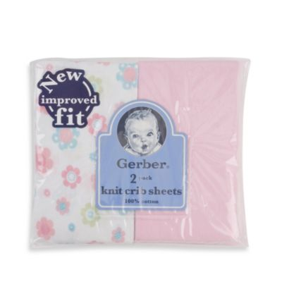 Gerber® 2-Pack Pink Cotton Knit Fitted Crib Sheet