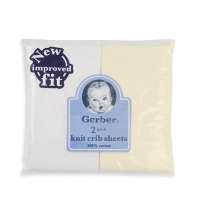 Gerber® 2-Pack White Cotton Knit Fitted Crib Sheet