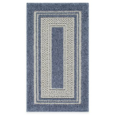 Double Border 2-Foot x 5-Foot Rug in Slate Blue