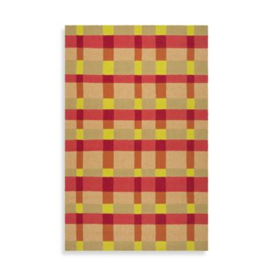 Atlanta Indoor/Outdoor 8-Foot x 10-Foot Area Rug in Beige and Red Checker