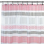 Interdesign® Centric Shower Curtain in Black/Red/White